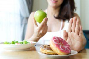woman choosing healthy foods